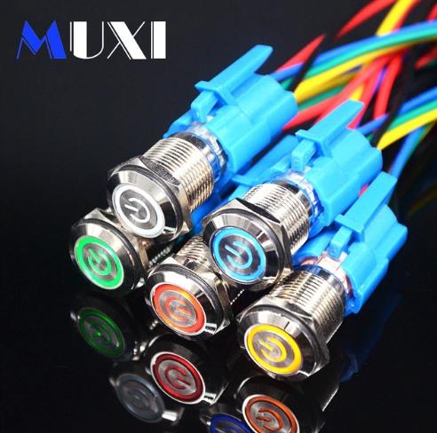 Переключатели- кнопки с подсветкой в металле Выбор по цвету и напряжению