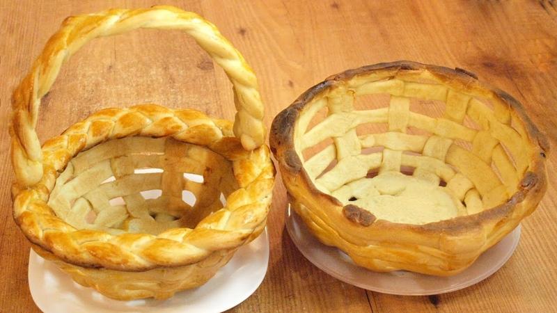 Плетёная пасхальная корзинка из теста Yeast dough Easter basket recipe ♡ English subtitles