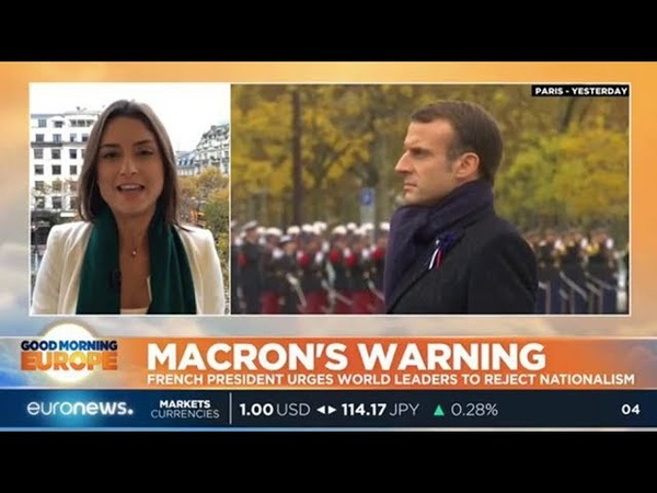 French President Macron urges world leaders to reject nationalism GME