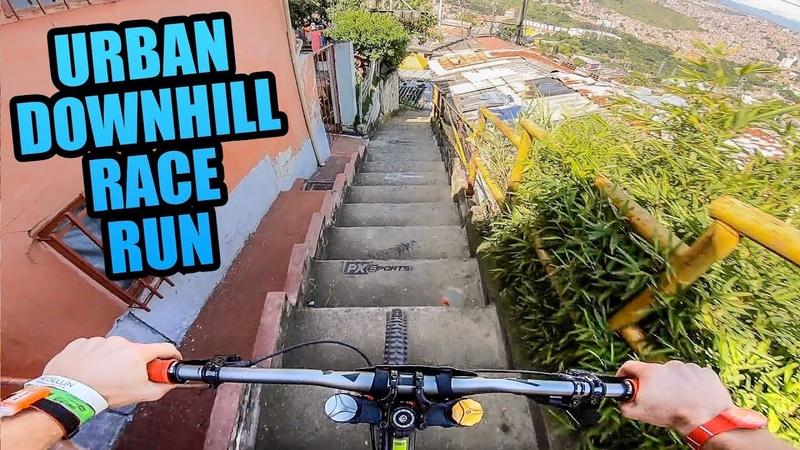 CRAZY URBAN MTB DOWNHILL TRACK - FULL RACE RUN!