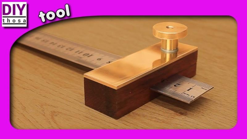 Ruler marking gauge - Purple Heart and brass - Lineal Anschlag