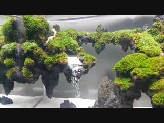 Sand Waterfall aquascape in the aquarium 38×20×26