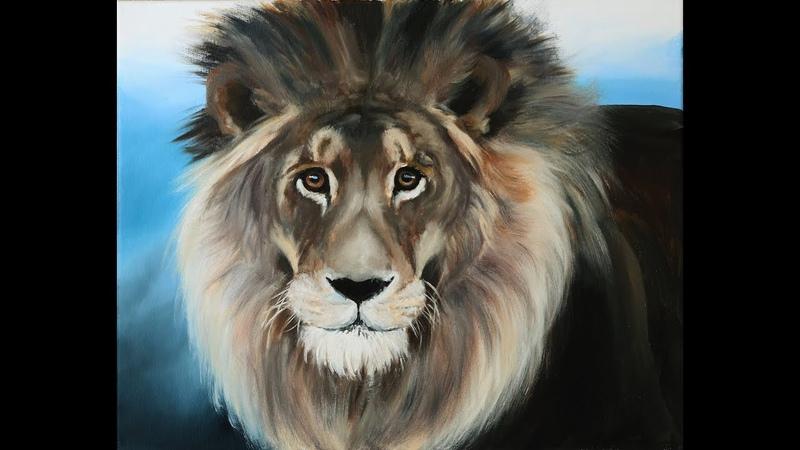 Как нарисовать льва маслом.