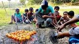 Tomato Eggs Barbecue - Tasty Eggs Tomato BBQ Prepared By Village Boys To Feed Cute Baby Children