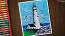 Lighthouse scenery drawing with Oil Pastels - step by step