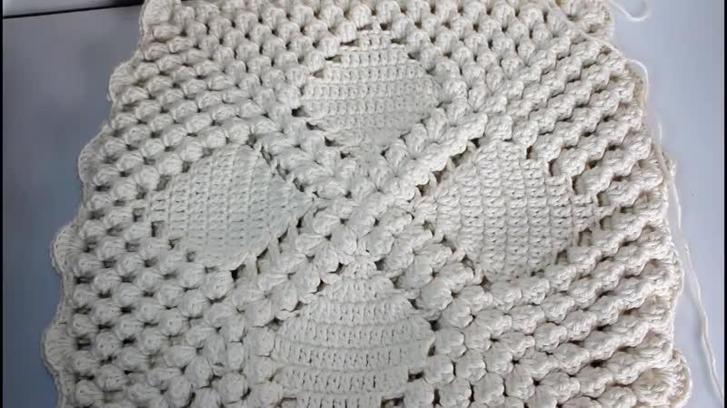 Capa de Almofada de Crochê _ Vintage _ Ponto Pipoca _ ❤Artes da Desi❤