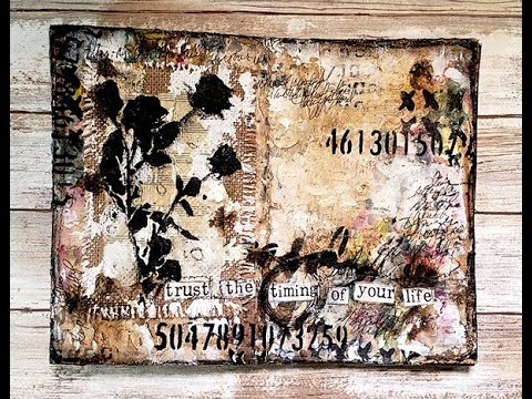 Burlap modeling paste and gesso mixed media journal page