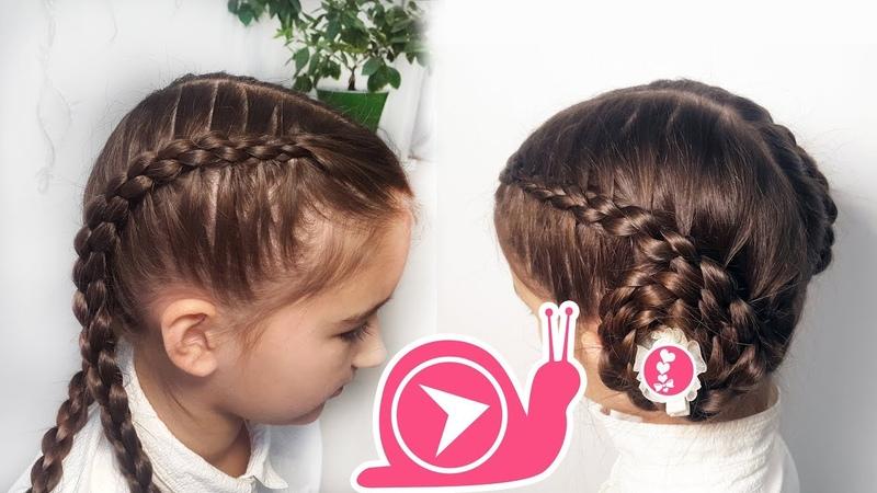 Круглая коса 3D с подхватами 🐌 Бублики-улитки 🐌 3d round braid snail buns