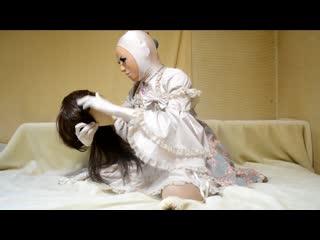 Female mask kigurumi doll flower-pattern dress zentai girl