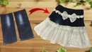 Diy Designer Skirt making from jeans best idea of jeans by simple cutting
