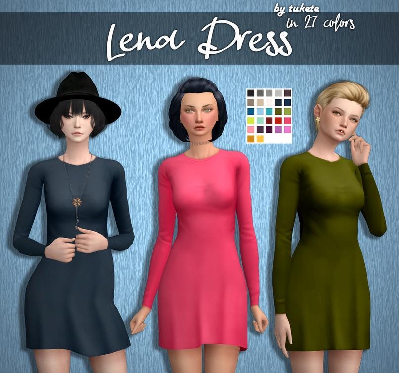 """Платье """"Lena""""  ? Скачать тут: http://bit.ly/2DJKW6P  Подробности↓  ● Подходит для базовой игры ● Пользовательская иконка в CAS ● 27 Lisa цветов"""