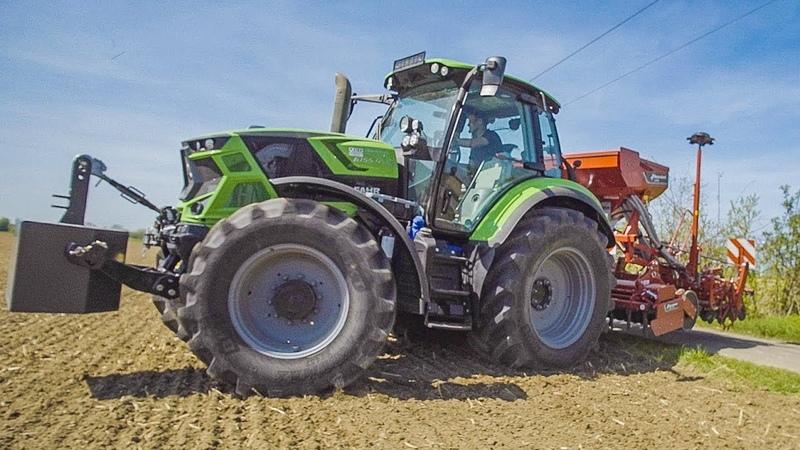 DEUTZ FAHR MASSEY FERGUSON Traktoren mit Kverneland Sämaschinen   Getreide Saat