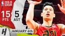 Jeremy Lin Full Highlights Hawks vs Heat 2019.01.06 - 15 Pts, 5 Ast!