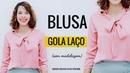 BLUSA COM GOLA LAÇO CORTE E COSTURA - Roupas Feitas por Mim