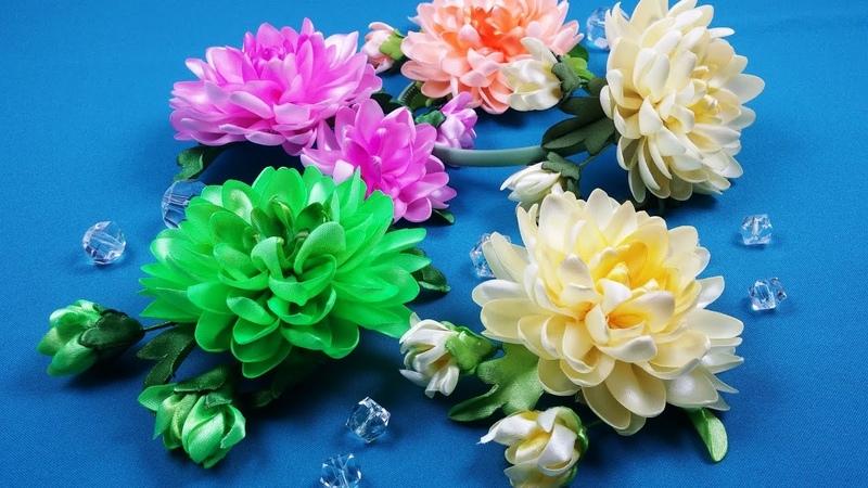 Ribbons Chrysanthemums/Crisantemos de cintas/Хризантемы из лент