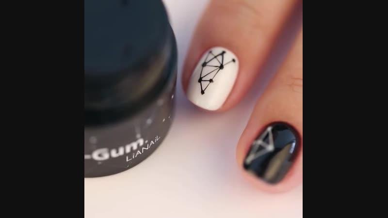 Гель краска LIANAIL Web Gum растягивается как паутинка покрывает ногти четким геометрическим узором