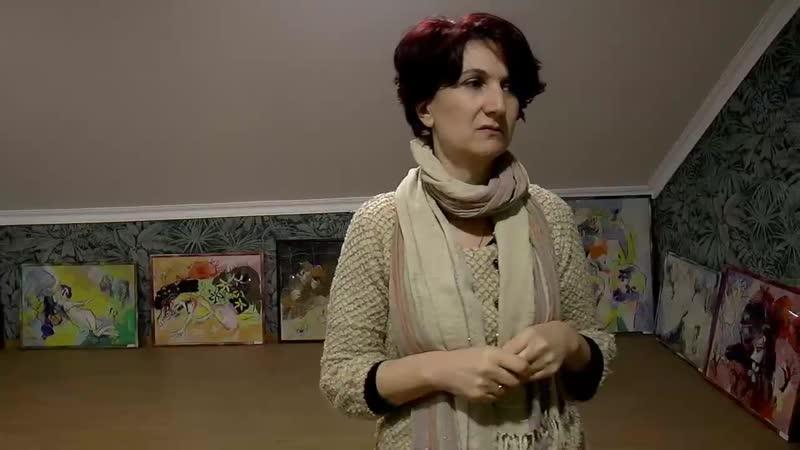 В мастерской художницы Елены Пипии Мастерская художника Елена Пипиа Художница по ткани Грузия