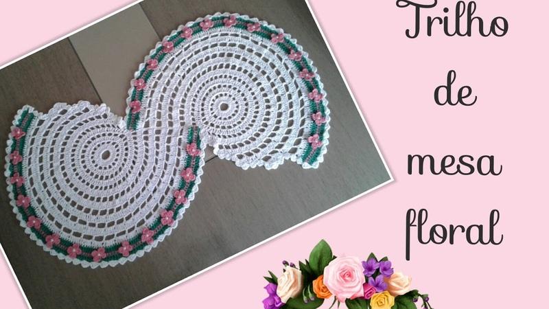 🔴Versão destros: Trilho de mesa floral ( 1° parte ) Elisa Crochê