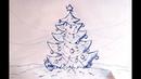 Рисуем красивую, Новогоднюю Ёлочку. Обычной, синей шариковой ручкой.