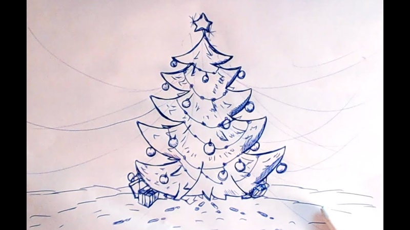 Рисуем красивую Новогоднюю Ёлочку Обычной синей шариковой ручкой