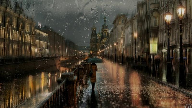 Ночная прогулка по дождливому Санкт-Петербургу Осень Фото Эдуард Гордеев