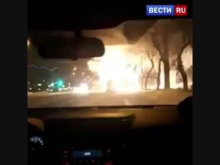 Пожар и взрывы в магнитогорской маршрутке попали на видео