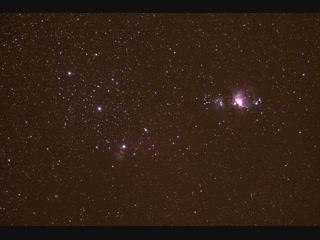 летающие спутники на фоне туманности ориона