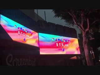 Reporter Michelle on the scene of the new BTS billboard on Hollywood at 7 am on Monday Oct.mp4