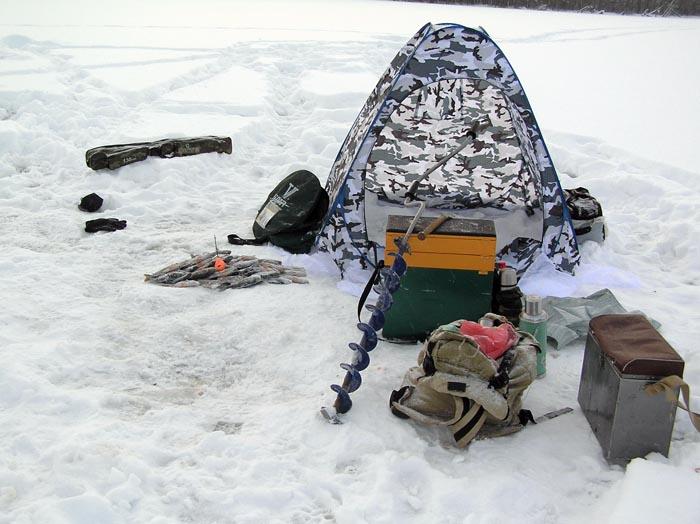 Используйте палатку для зимней рыбалки