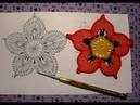 Мотив №9. Цветок с 5 ю лепестками. 2 часть. Вязание ирландских кружев для начинающих