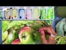 Зеленые яблоки акварелью