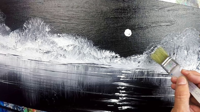 Black and White / Landscape / Demo 125 / Moon Reflection / Acrylics / Painting Techniques