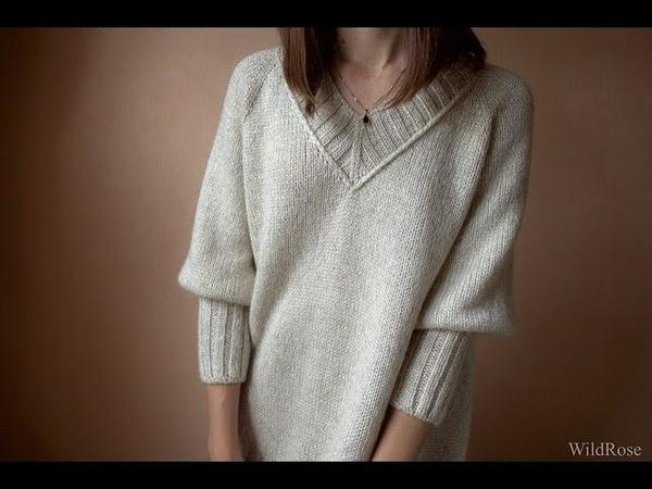 Вязаный пуловер регланом Описание свитера ♥ Вяжем спицами ♥ Wild Rose ♥ Вязание это просто ♥