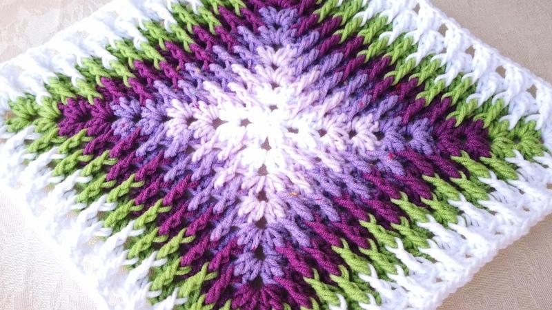 Tığ ile Mozaik Motif / Battaniye Yapımı / Crochet Mosaic Granny Square 8