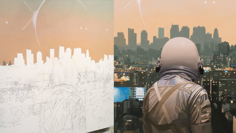 S6 Timelapse Speed Painting of The City by Astronaut-Painter Scott Listfield