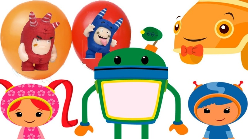 Oddbods and water balloons toys learn colors for kids 14 min