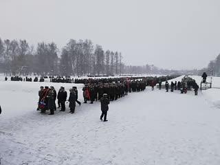 Возложение венков и цветов на Пискаревском мемориальном кладбище