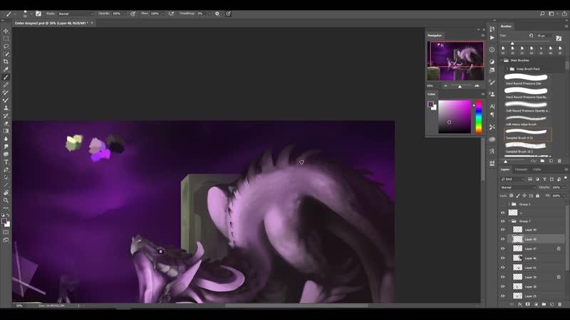 Digital Painting Process - Ender Dragon