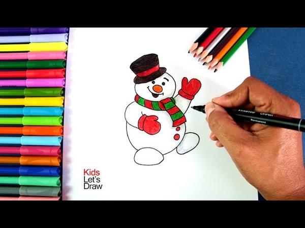 Cómo dibujar al Muñeco de Nieve de Navidad | How to draw the Christmas Snowman