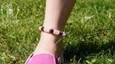 Браслет на ногу Мурмелла Натуральные камни розовый кварц яшма мукаит
