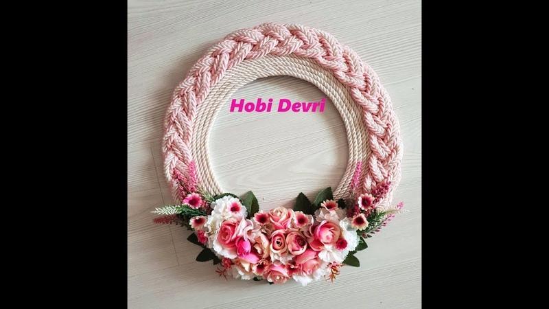 DIY,Wall or Door Decoration with Pink and White Rope, Kordon İp ile Örgü Kapı,Duvar Süsü