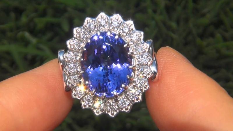 INVESTMENT GRADE 9.01 Carat Natural Tanzanite Diamond Ring Solid PLATINUM