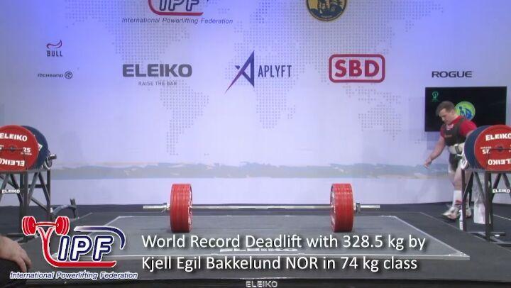 """IPF Powerlifting on Instagram """"World Record Deadlift with 328.5 kg by Kjell Egil Bakkelund @kjelllbrell NOR in 74 kg class @aplyft @sbdapparel @e..."""