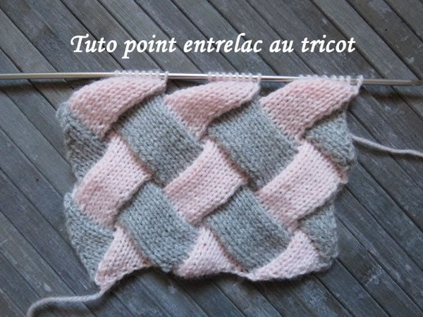 TUTO POINT ENTRELAC AU TRICOT Entrelac stitch knitting PUNTO ENTRELAZADO DOS AGUJAS