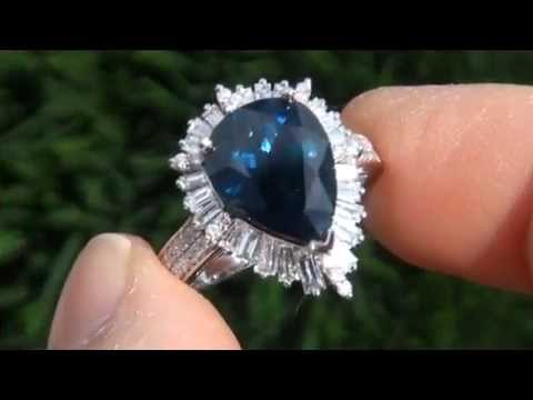 UNHEATED UNTREATED GIA 5.81 Carat Blue Sapphire Diamond Engagement Ring - Vintage