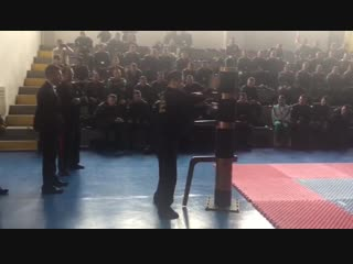 Teaching and demonstrating Wing Chun wooden dummy techniques at the National Police Officer Academy (Escuela General de Paula Sa