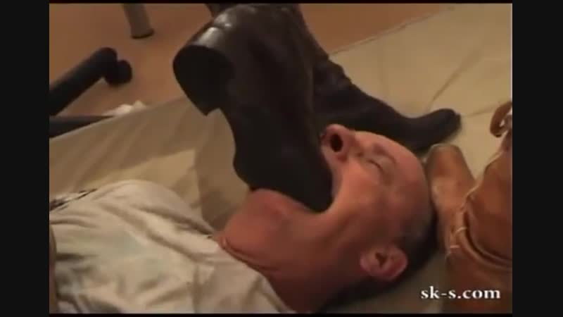 Fantastic cruel boot gagging black riding boots deeply in mouth plus cowboy boots on forehead and throat