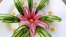 Handmade Cucumber Flower | Fruit Vegetable Carving Cutting Garnish