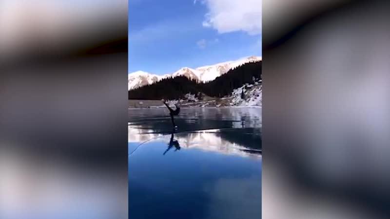 Чудо природы Большое Алма Атинское озеро просто создано для фигурного катания