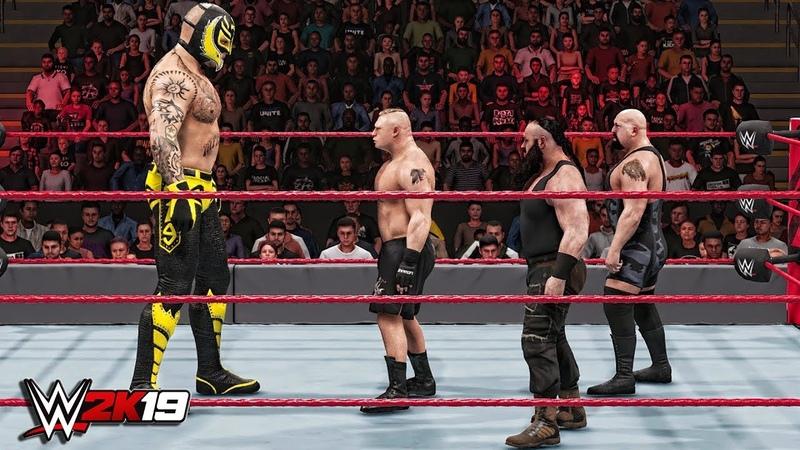 WWE 2K19 Giant Rey Mysterio vs Mini Brock Lesnar, Mini Braun Strowman Mini Big Show!